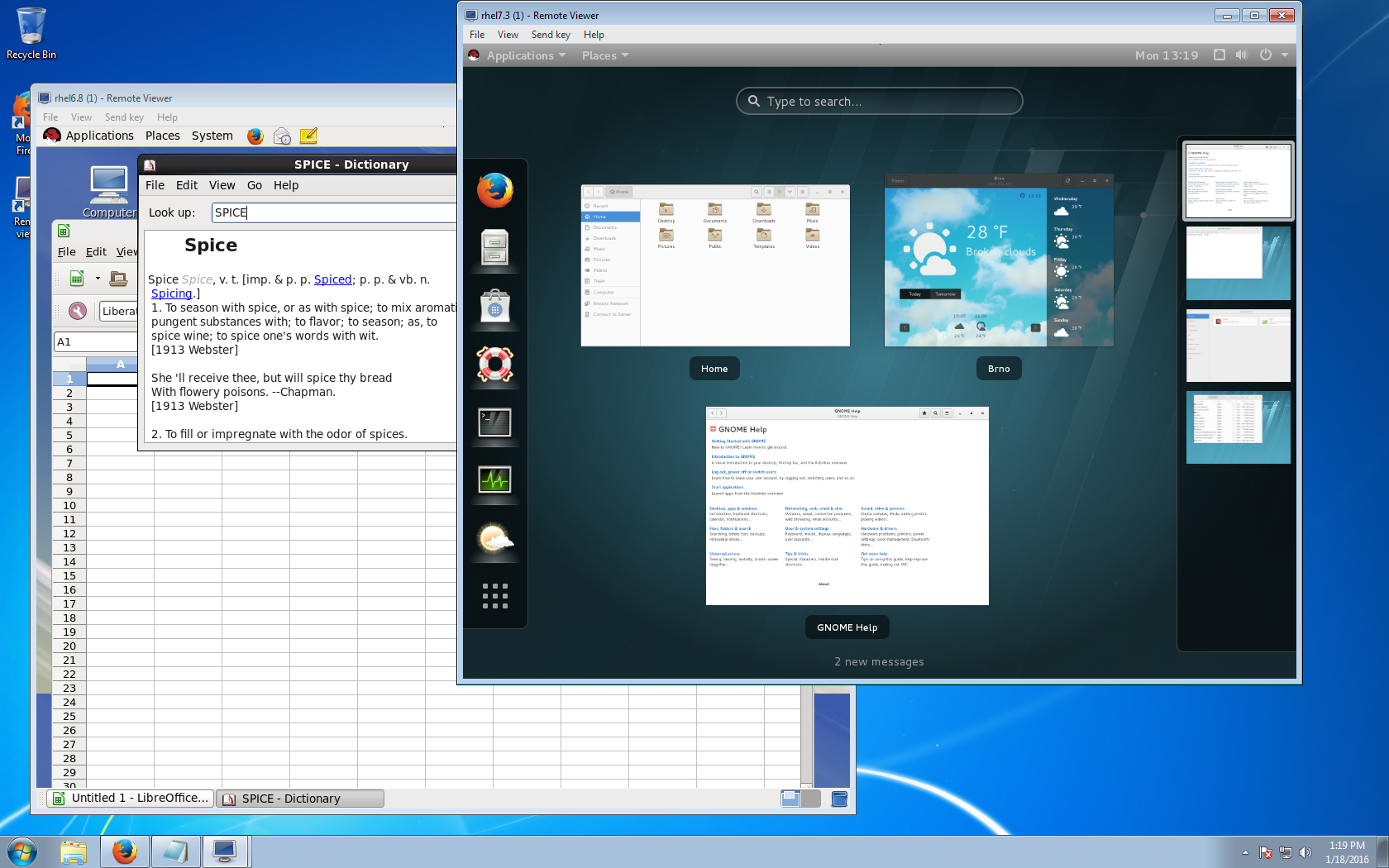 Windows7 client connected to RHEL6 and RHEL7 guests